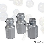 Mini Silver Hexagon Bubble Bottles
